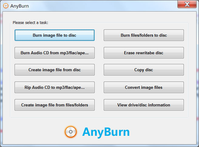 Click to view AnyBurn 3.9 screenshot