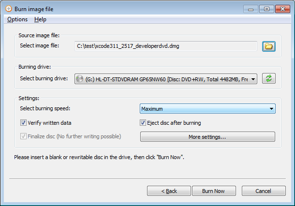 Burn DMG file