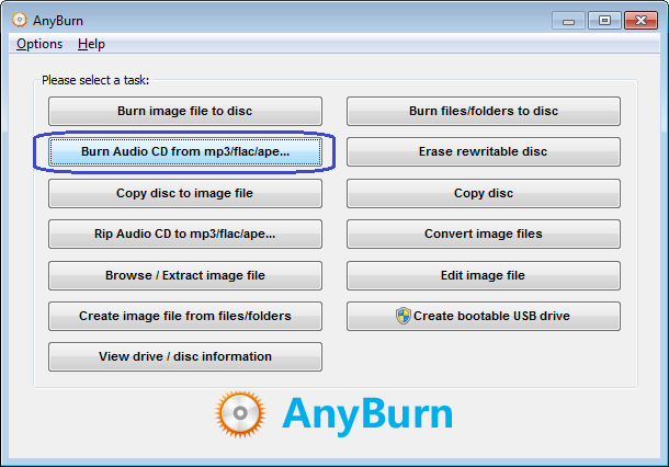 Burn Audio CD from FLAC files