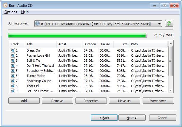 Burn Audio CD from WAV files