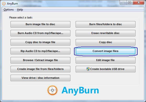 Convert image file to BIN / CUE file