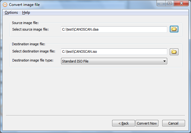 Convert image file to ISO file
