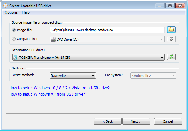 Setup linux from USB drive