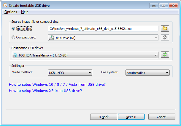 Setup Windows 7 from USB drive