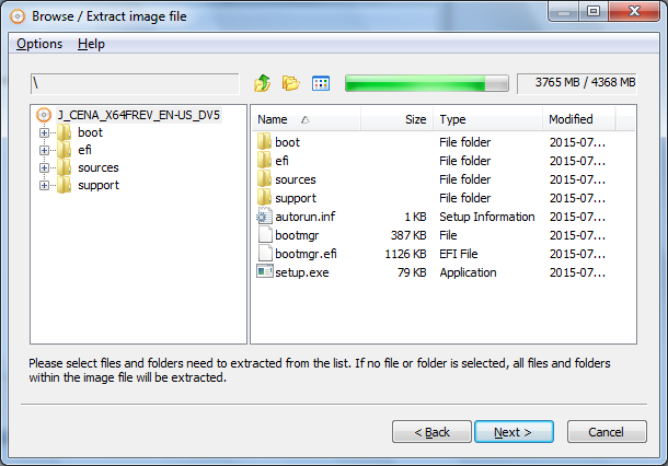 extract files from folder