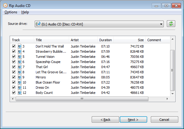 how to change cd audio track to mp3